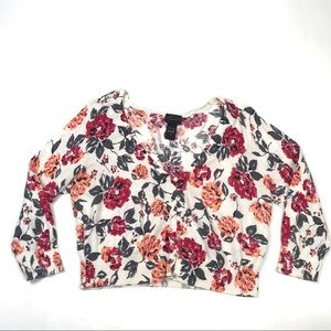 Torrid 0 Cropped Floral Cardigan Sweater Button Up